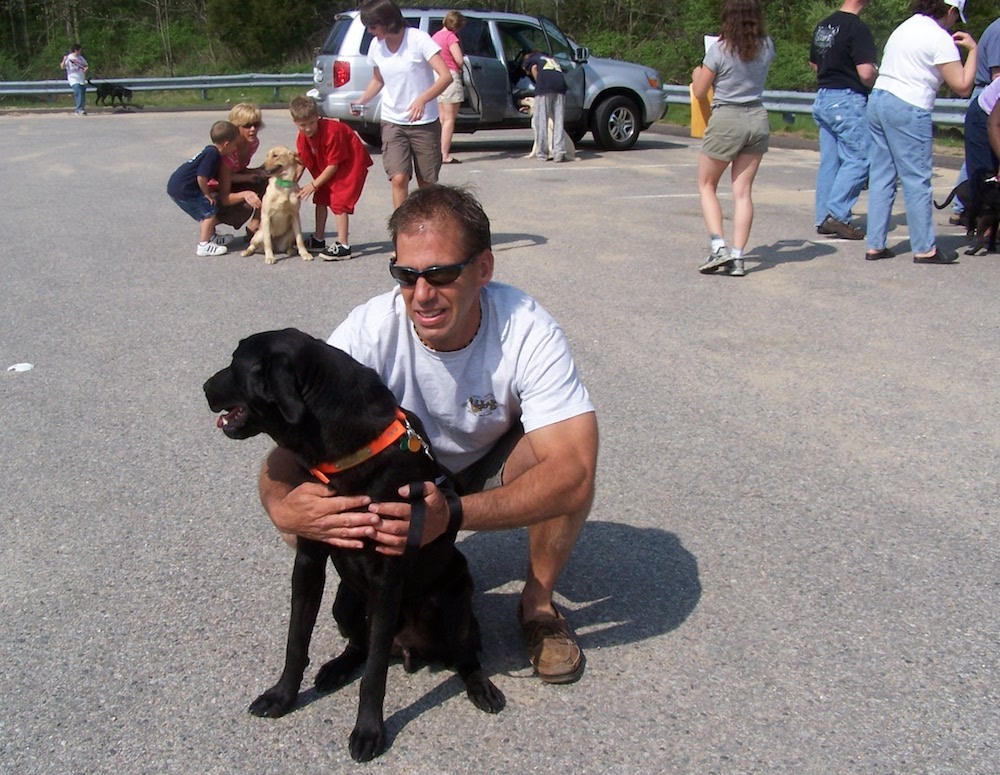 Our 1st Rescue Dog_Blu Campbell with Al_colchester commuter lot